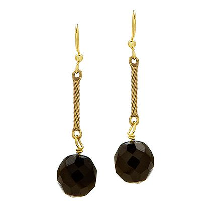 Alana - Gold Plated single drop earrings with a Black Czech Fired Crystal. A twist on the classic Anna Design Teardrop earring.