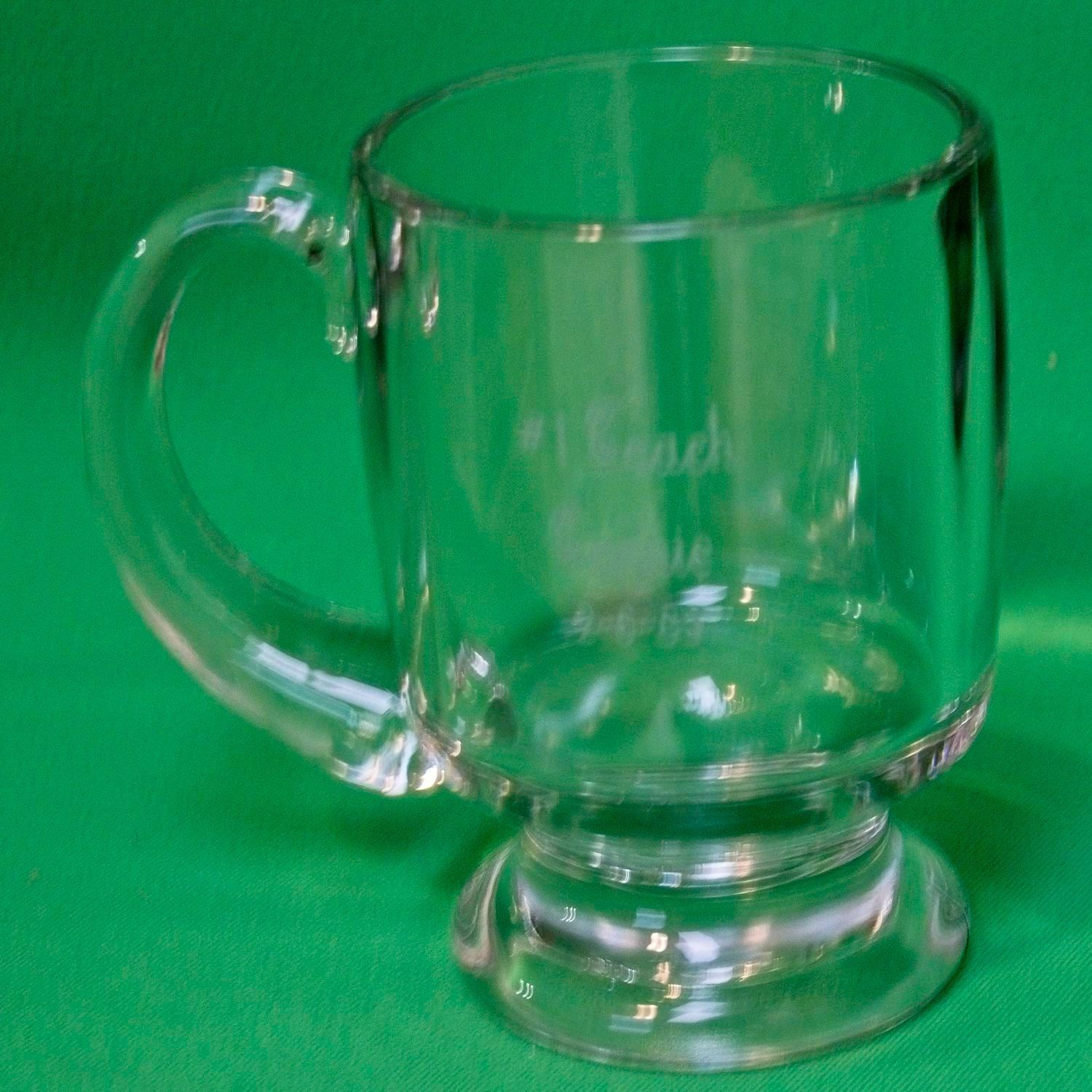 Large Heavy Inscribed Glass Coffee Mug With Pedestal Base