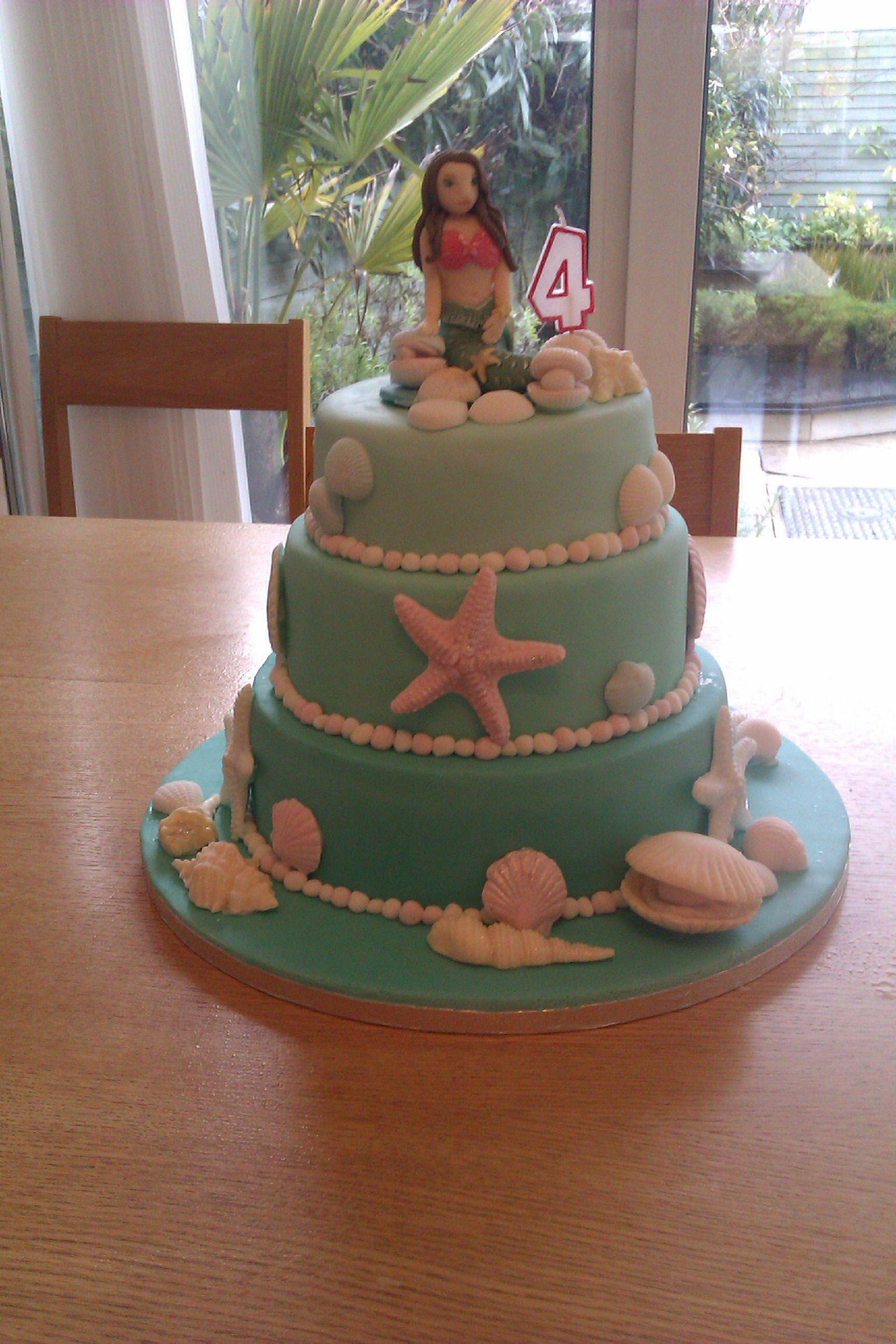 My Little Girls 4th Birthday Cake Madeira Cake With Strawberry