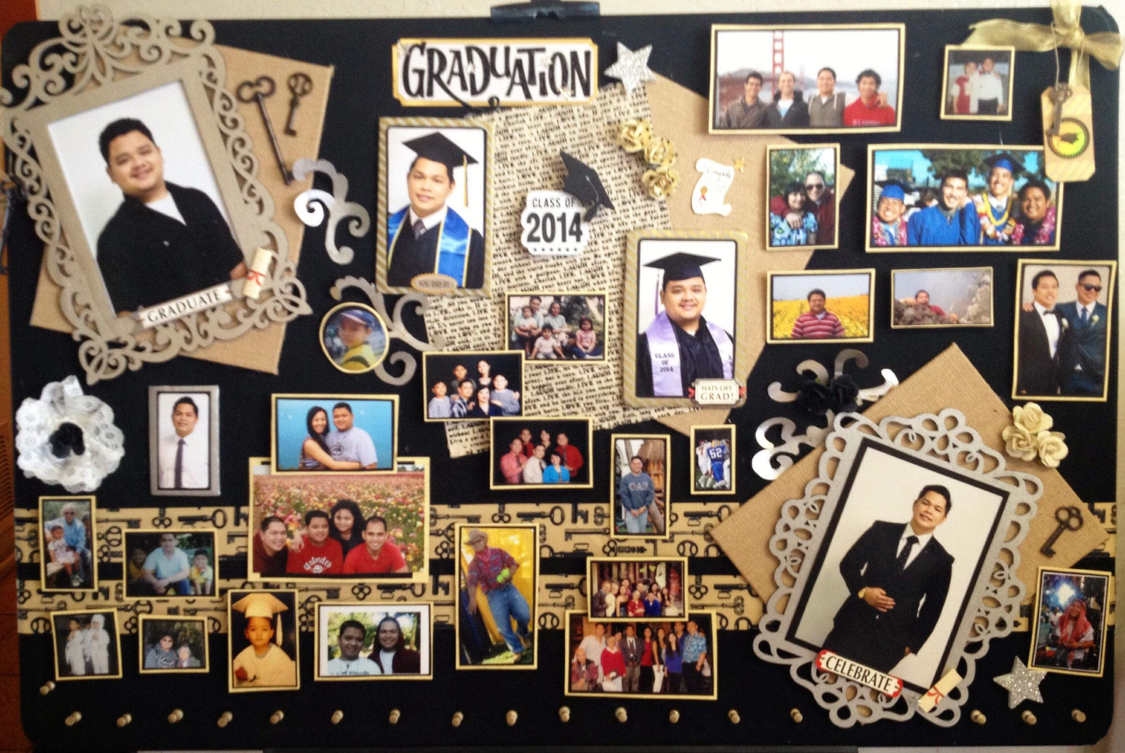 Graduation board for my two brothers who graduated this weekend. Decorated a bulletin board (work by Kristine) with photos, past and present, of them and the people around them. On the bottom are gold push pins, where keys and tags will hang to represent the future (next to this board is a sign that says: Share your key to success!).