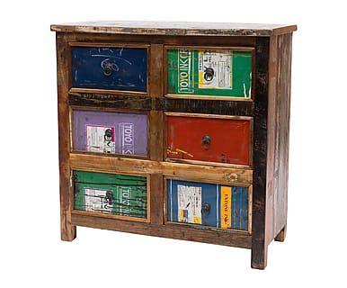 Cómoda con 6 cajones en madera reciclada Rister 90x90 cm