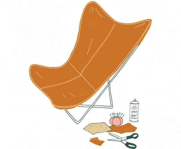 "STEP-BY-STEP INSTRUCTIONS ON HOW TO RECOVER A BUTTERFLY CHAIR. ""I'm in love with the classic butterfly chair. It works as a sculptural piece. I've been on the hunt for an old frame, with the intention of making my own beauty. And I found one at a flea market."" —Crystal Thomas --"