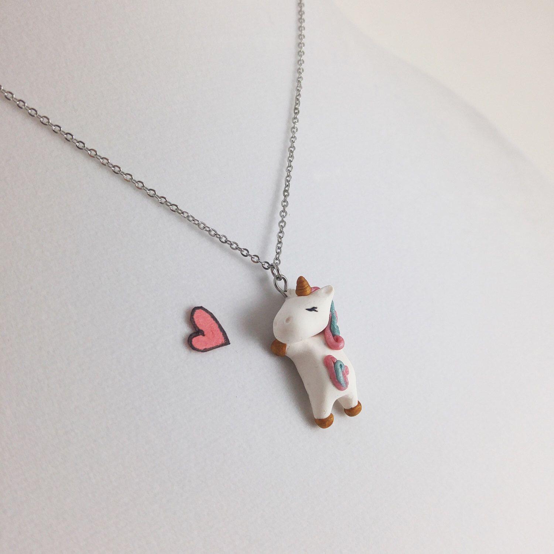 Unicorn Necklace Polymer Clay Unicorn Cute Unicorn Charm