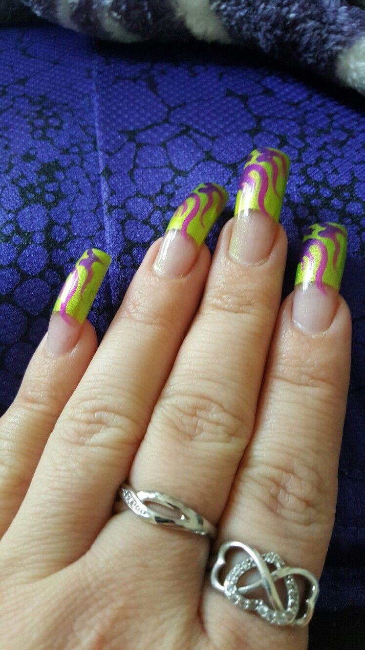 Firery streaks Airbrush nails, Nail designs, Nails