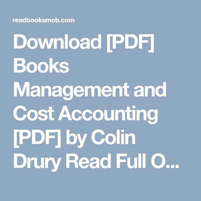 Cost And Management Accounting Colin Drury Pdf