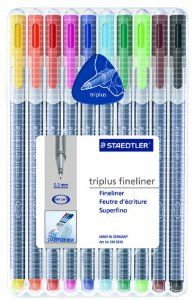 Amazon.com : Staedtler Triplus Fineliner Pens, Pack of 10, Assorted Colors (334SB10) : Porous Point Pens : Office Products
