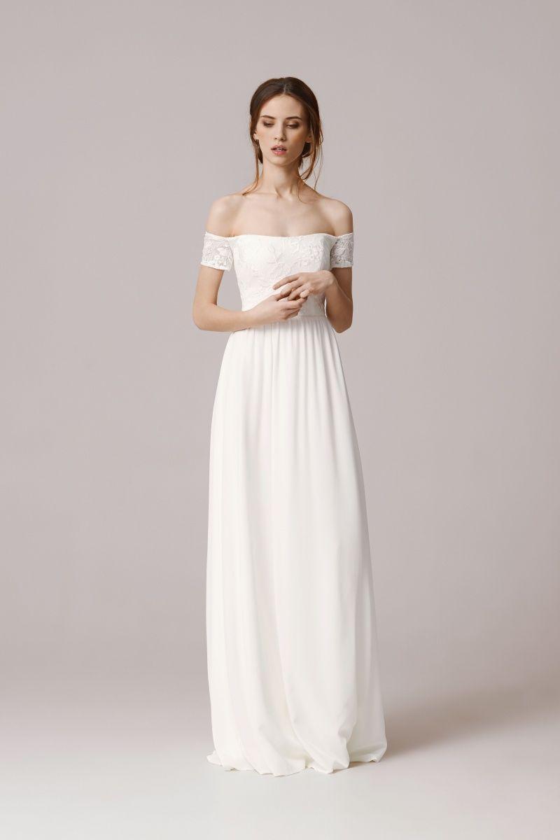 modernes, elegantes Brautkleid, Carmenausschnitt, Hochzeitskleid ...