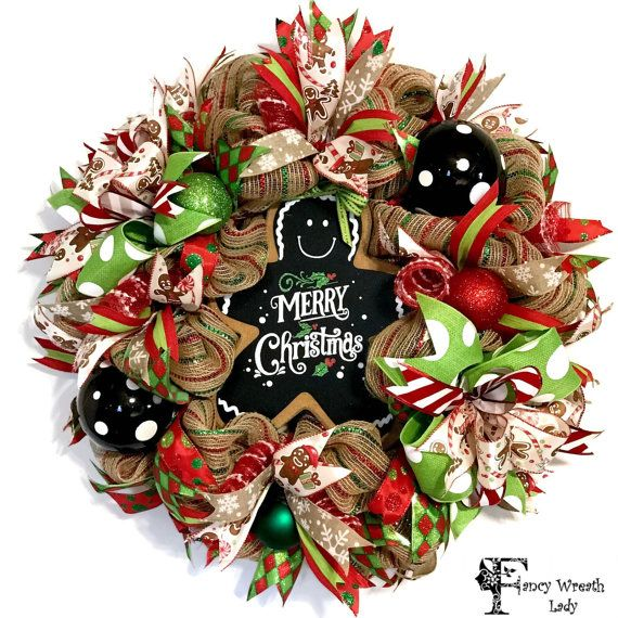 GINGERBREAD Burlap Mesh Wreath Whimsical by FancyWreathLady Mesh