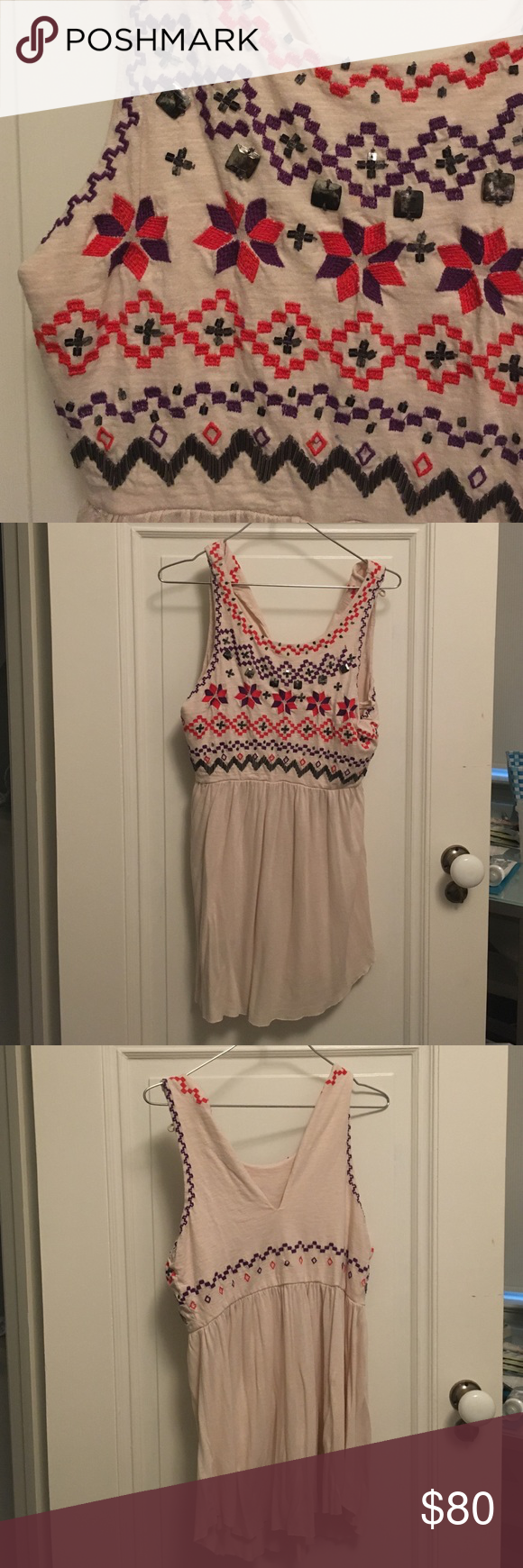 """FREE PEOPLE canvas colored beaded tunic Supposed to be a dress but super short on me and I am 5'1"""" ! This would go well with leggings or just jeans, I only advise you not to wear it alone or else...🍑😂 Free People Tops Tunics"""