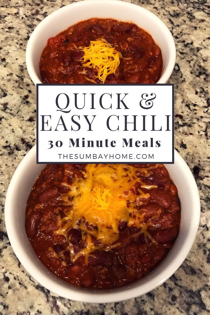 Quick and Easy Homemade Chili Recipe - The Sumbay Home % #chilirecipe