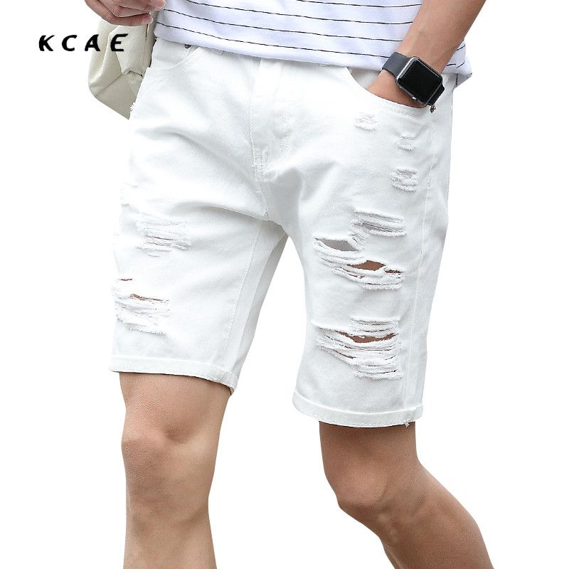 2017 New Summer White Mens Denim Shorts Slim Regular Casual Knee Length Short Hole Jeans Shorts For Men Plus Size