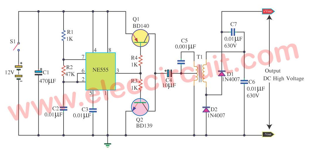 12v to 300v dc dc converter circuit eleccircuit com power supplycheap high voltage low current dc to dc inverter