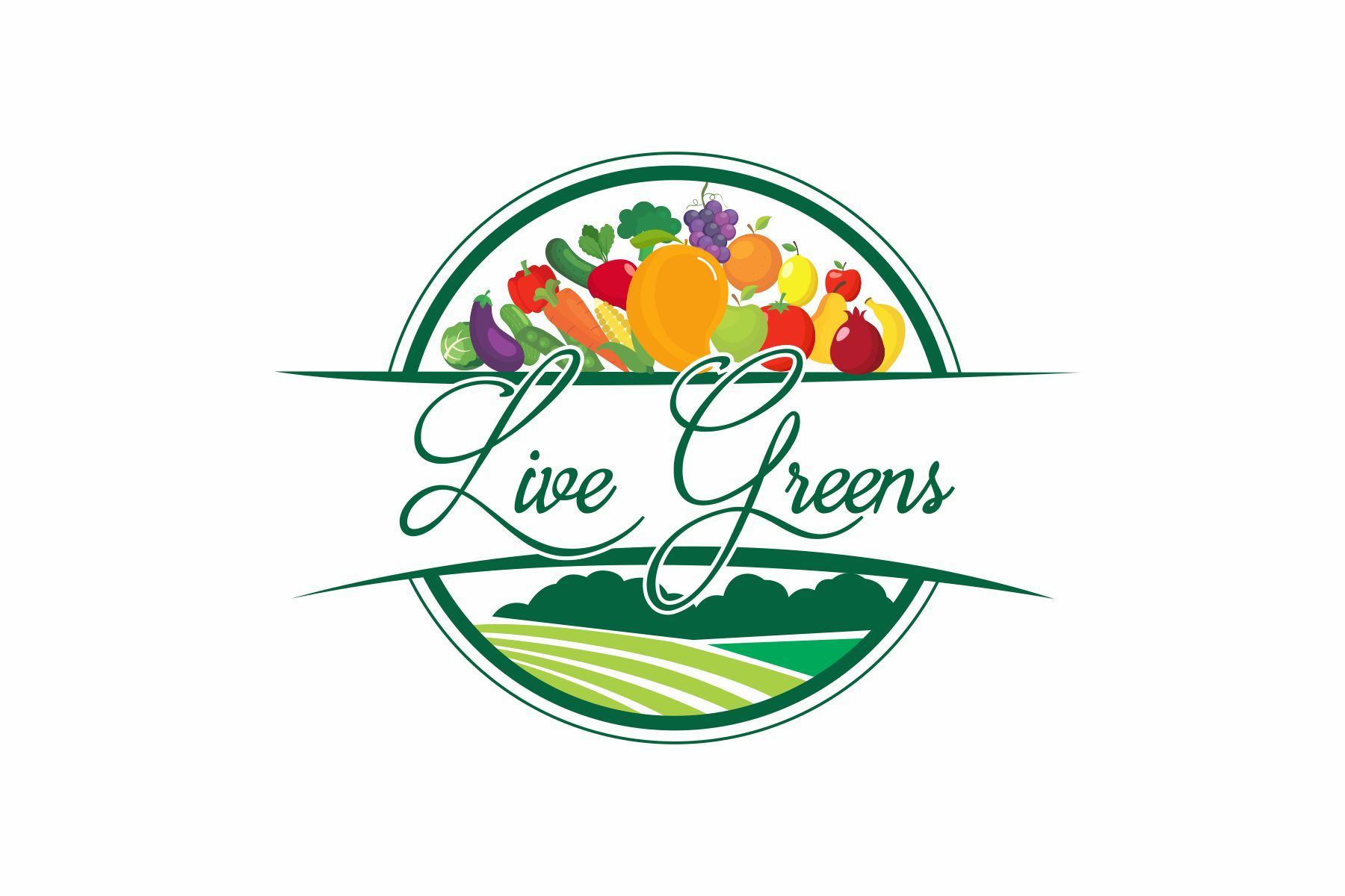 Live Greens Logo Nature Of Business Is They Use To Sale Import And Export Fruits And Vegetables They Do The Organic Farming Also Fruit Logo Green Logo Logos