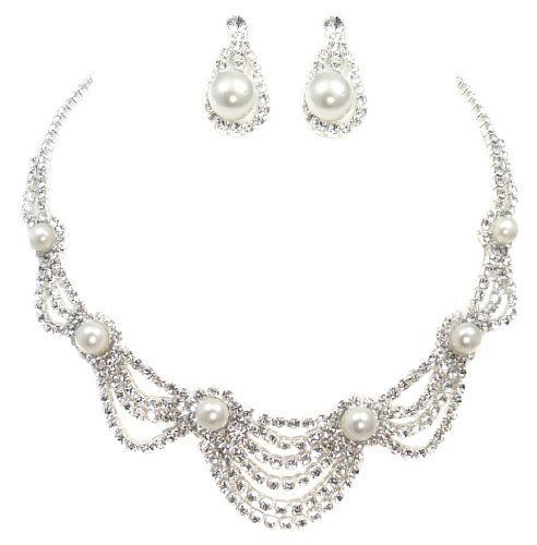 31bda66b3 Bridal Wedding Collection Crystal and Simulated Pearl in Silver Tone  Necklace and Earrings Jewelry Set CB