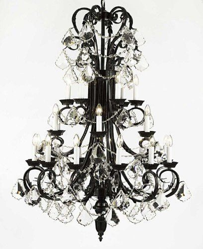 "Large Foyer / Entryway Wrought Iron Chandelier 50"" Inches Tall With Crystal! H50"" X W30"" - G84-B13/724/24"