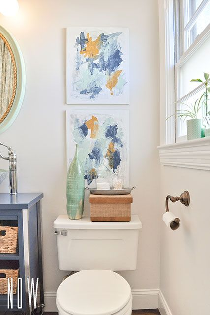 For Some Art To Hang Above The Toilet Two Simple Abstract Palette Amazing Budget Bathroom Remodel Painting