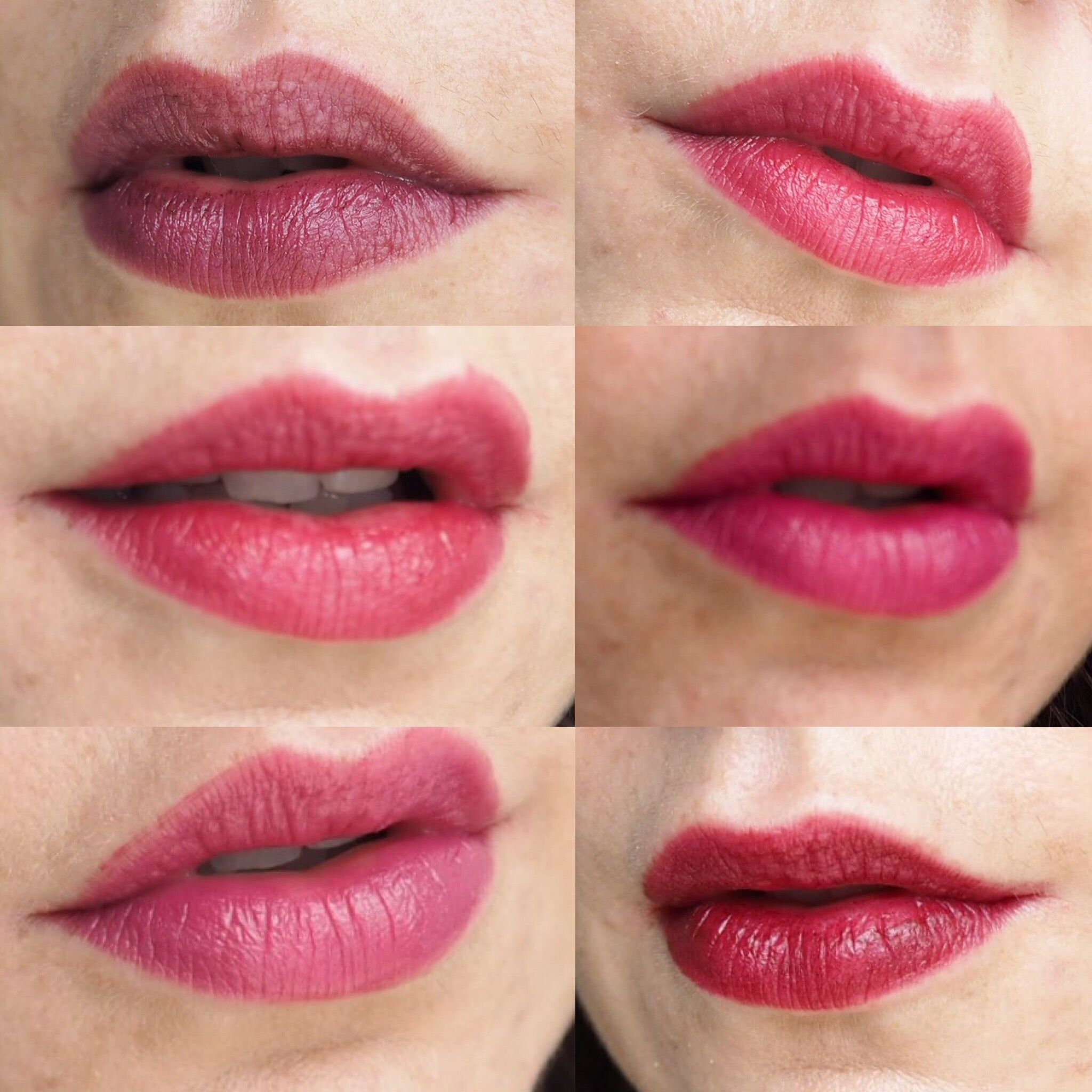 Nyx Pro Lip Cream Palette In The Plums A Collage Of 6 Photos Soft Matte All Variant Lips Each Wearing Different Shade From