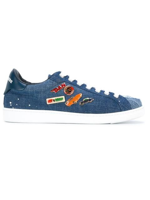 Shop Dsquared2 pin denim sneakers .