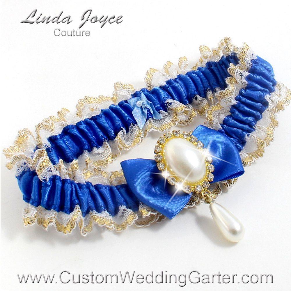 Royal Blue And Gold WEDDING GARTER Pearl Bridal Garter