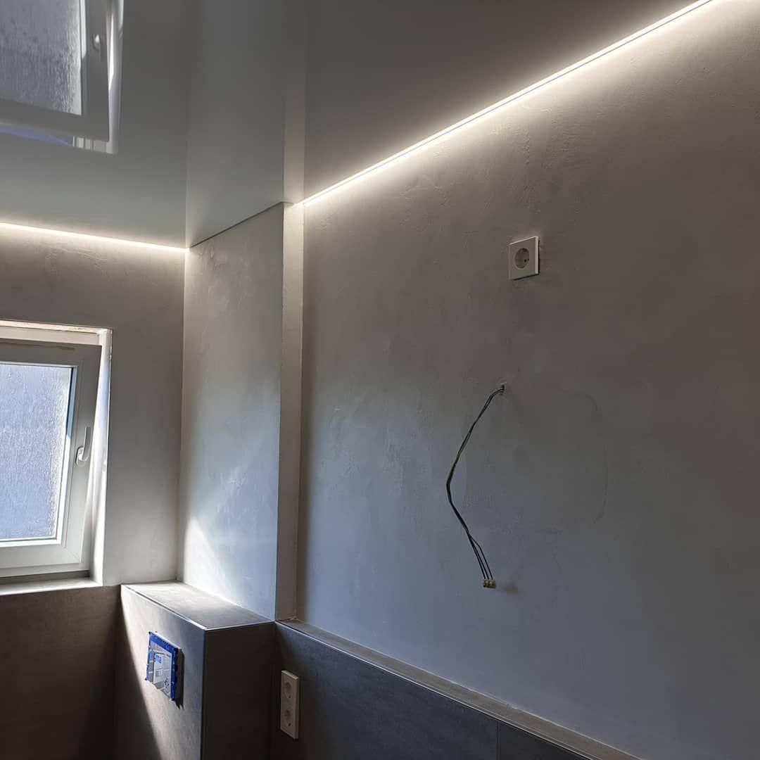 Marmorputz Und Spanndecke Mit Led Beleuchtung Spanndecken Wandgestaltung Badezimmer Raumausstattung Renovieren