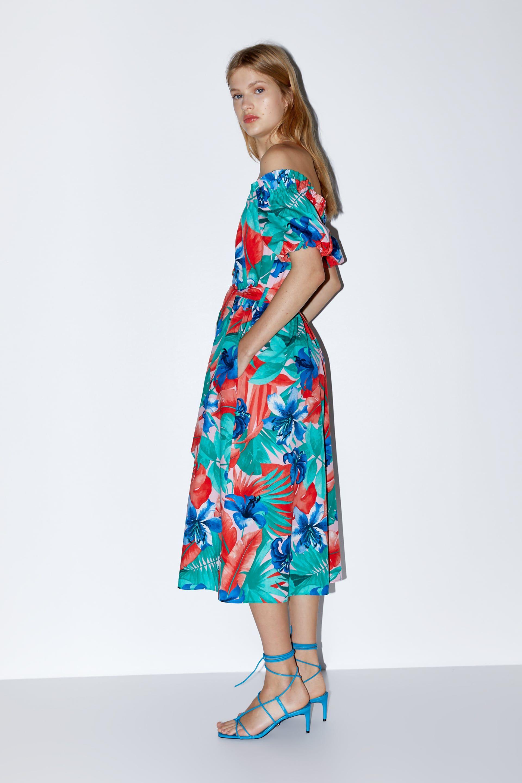 Tropical Print Dress New In Woman Zara Canada Tropical Print Dress Dresses Print Dress [ 2880 x 1920 Pixel ]