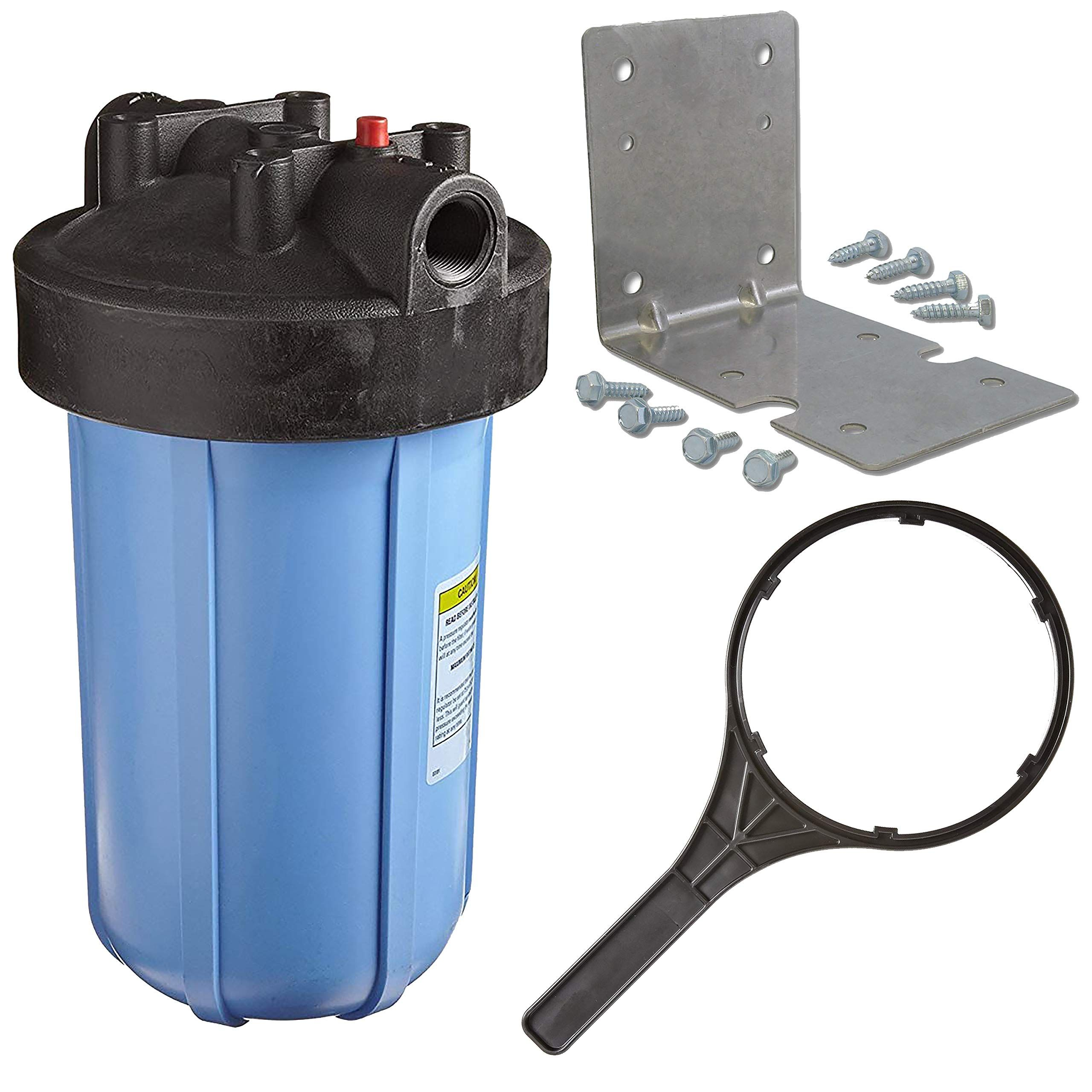 Pentek 1 Threaded 10 Genuine Big Blue Filter Housing Kit Complete With Bracket Screws And Wrench 150237 150061 150296 Visi Blue Filter Big Blue Wrench