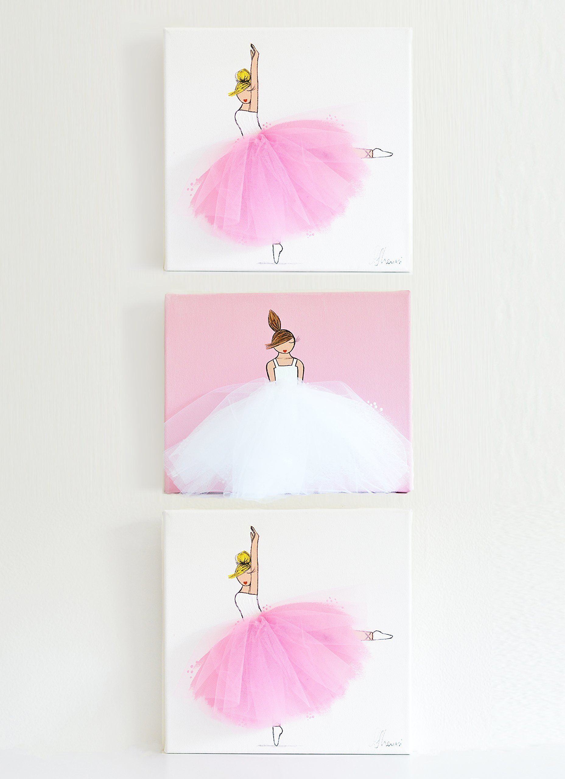Ballerina Nursery Wall Art, Pink Nursery Decor For Girls, Art