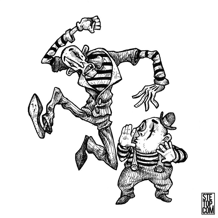 Self Proclaimed Best Mime Act Line Art Character Design