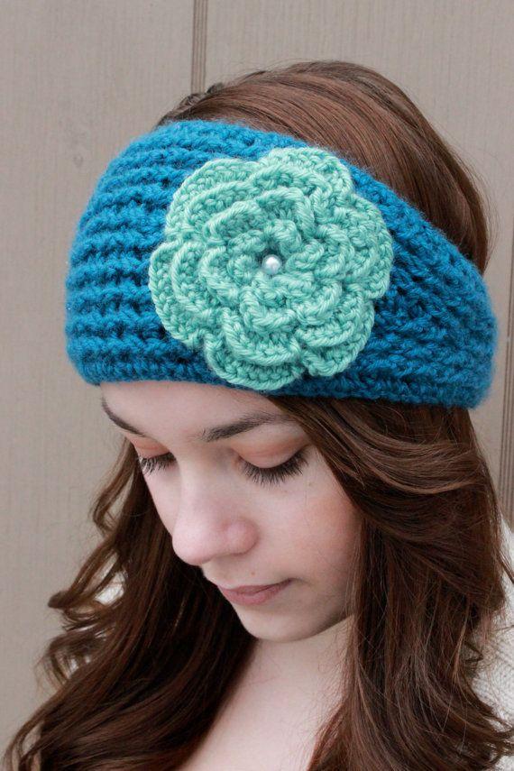 Womens Earwarmer/Teal Ear warmer/Crochet Earwarmer by Rouve, $25.00 ...