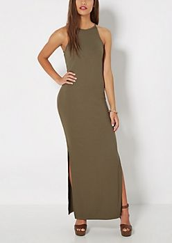 6d94d13ee1 Olive Ribbed High Neck Maxi Dress