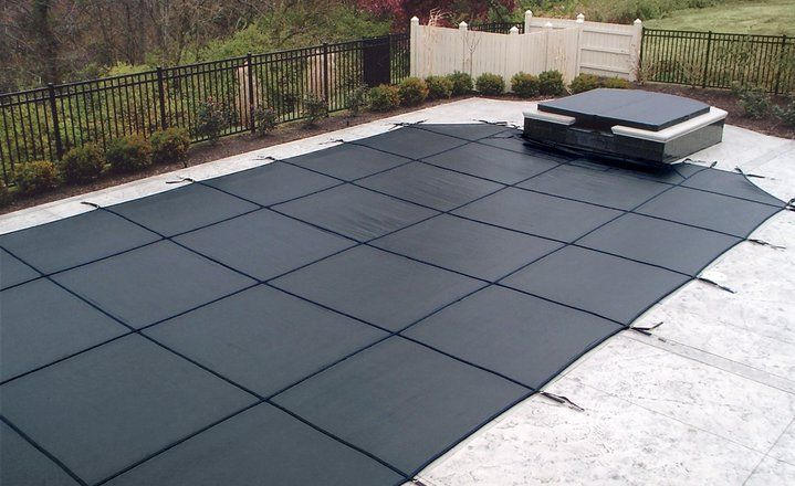 Rayner black safety mesh pool cover and matching black spa - Above ground swimming pool covers ...