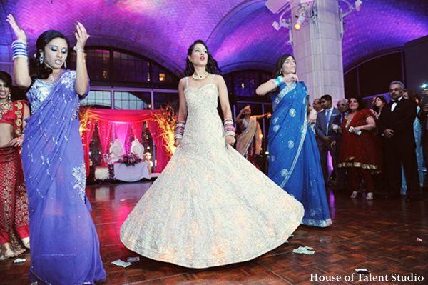 Indian Wedding Reception Dance Bride White Gown