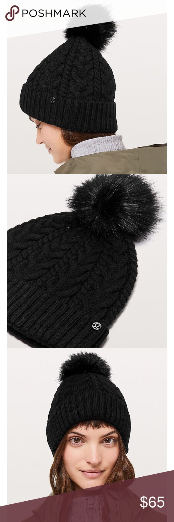 e3bf7d307a4 Lululemon Twisted Bliss Beanie NWT Super cute Twisted Bliss Pom Pom beanie  from lululemon. Super nice and warm cable knit material.