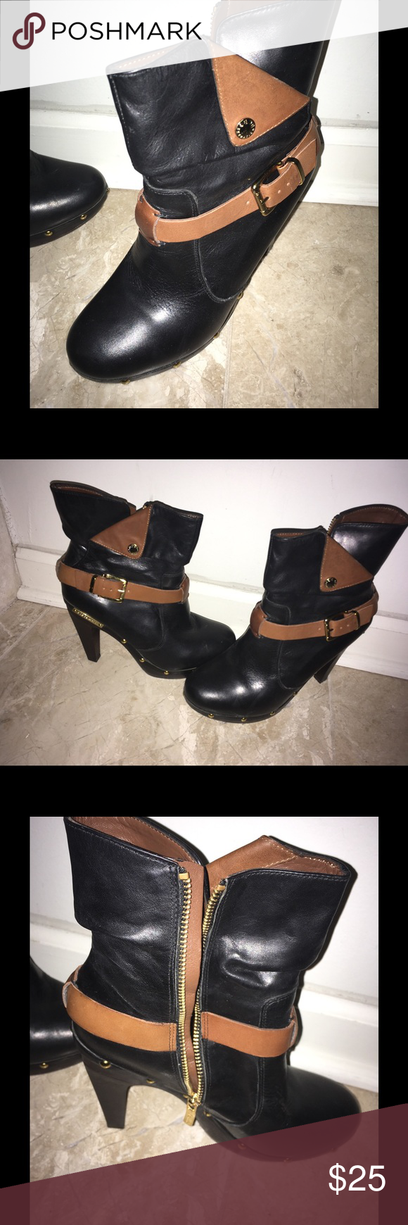 BCBG Boots Black and Tan BCBG boots with gold accents. 3 1/2 inch heel. 5 inch shaft. BCBG Shoes Heeled Boots
