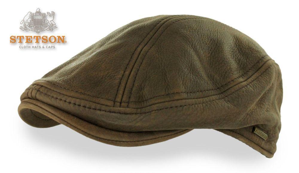 5d97c3102 Stetson Brown Leather Newsboy Hat Ivy Driver Cap S/M L/XL Gatsby ...