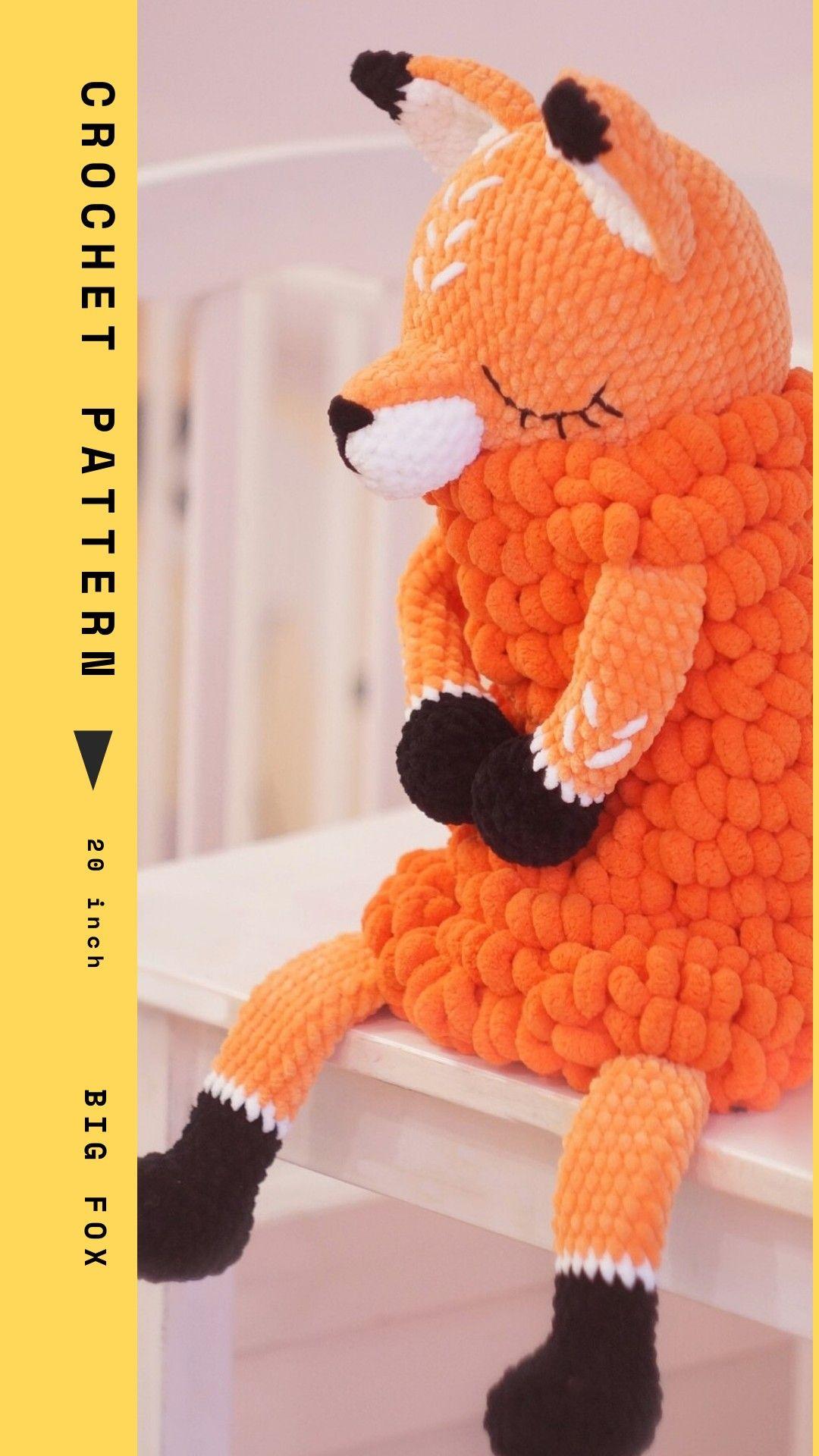 Crochet Fox PATTERN Amigurumi BIG Fox pattern, Lovey Toy CROCHET, sleepy stuffed Fox