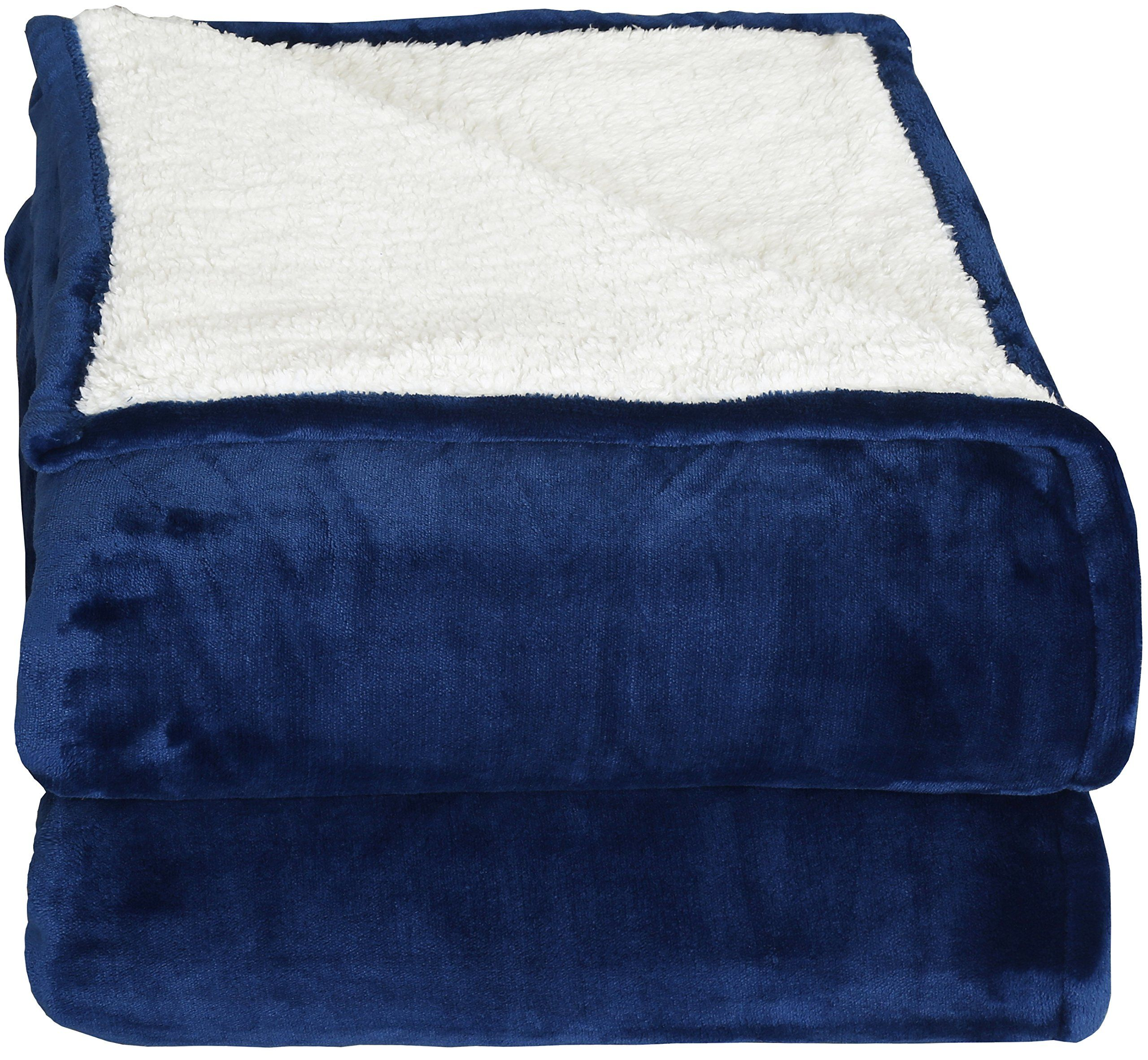 Sherpa Flannel Fleece Reversible Blankets Queen Navy Extra Soft Brush Fabric Super Warm Bed Blanket Lightweight Cozy Couch Easy Care By