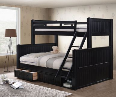 Dillon Xl Full Over Queen Wood Bead Board Bunk Bed Queen Bunk Beds Bunk Beds With Storage Queen Loft Beds