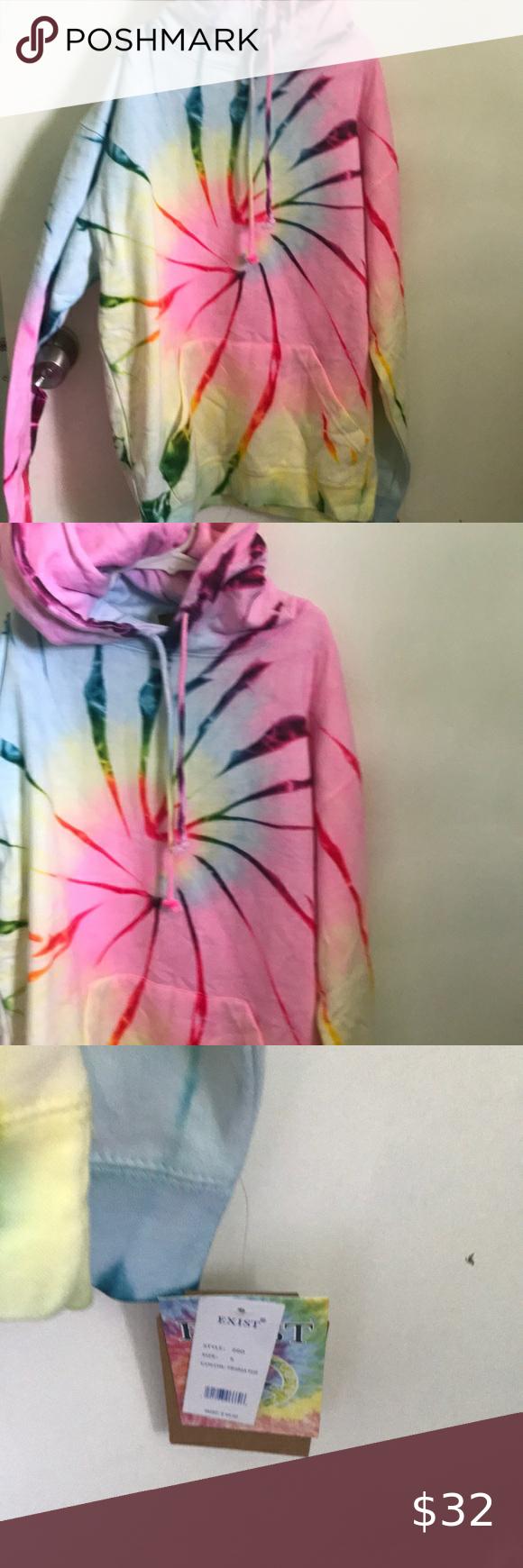 Nwt Exist Tie Dye Hoodie Brand New Beautiful Vibrant Tie Dye Sweatshirt Hoodie Measurement 36 Inches Around Bust Tie Dye Tie Dye Hoodie Tie Dye Sweatshirt [ 1740 x 580 Pixel ]