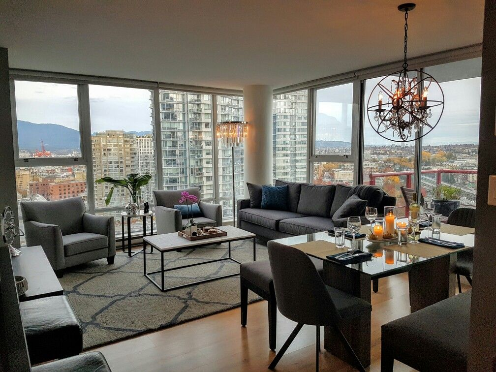 Vancouver Condo Open Concept Apartment Living Marble Coffee Table Benches At Dining To