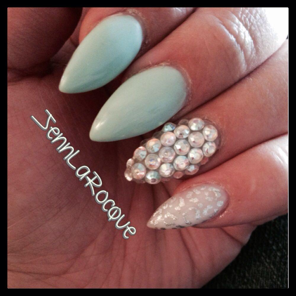 Gel Stilettos Tiffany blue, Swarovski nail art, silver leopard nail ...