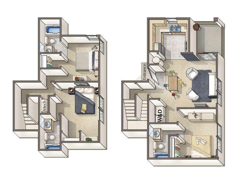Amazing 3d Townhouse Floor Plan