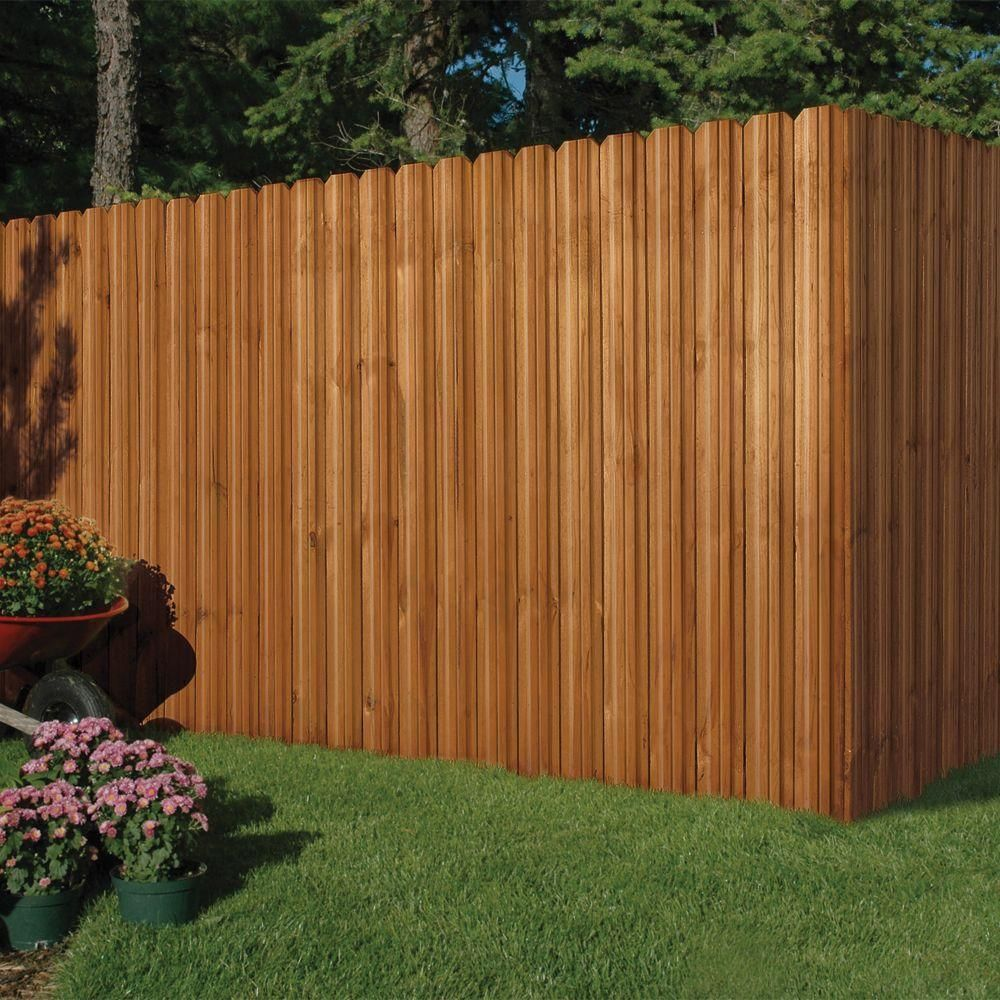 Outdoor Essentials 6 Ft X 6 Ft Pressure Treated Cedar Tone Moulded Wood Unassembled Fence Panel Kit 162523 The Home Depot Diy Backyard Fence Backyard Fences Outdoor Essentials