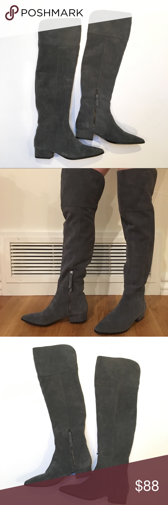 4171fab704c Splendid Ruby Over The Knee Gray Suede Boots 9 Splendid Ruby Over The Knee  OTK Gray Suede Pointed Boots Size 9 Overall excellent condition- most of ...