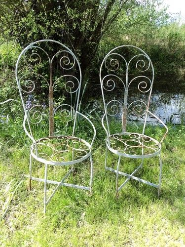 Old Antique French Wrought Iron Garden Chairs