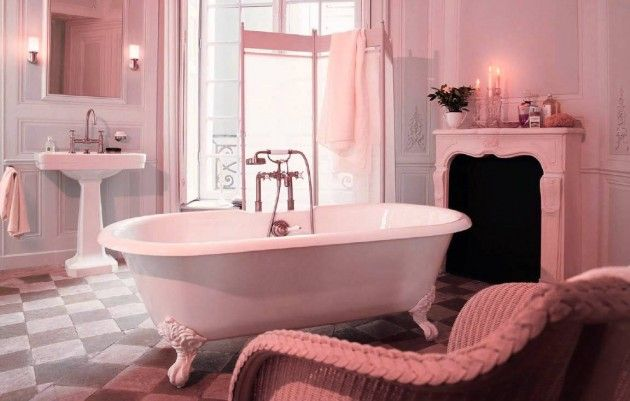 If You Like Feminine Furniture This Is The Perfect Decor Inspiration For Your Bathroom Vintage Bathroom De Pink Bathroom Luxury Bathroom Pink Bathroom Tiles