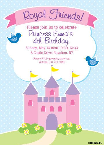 Fairy Tale Birthday Invitation Royal Castle Printable Party