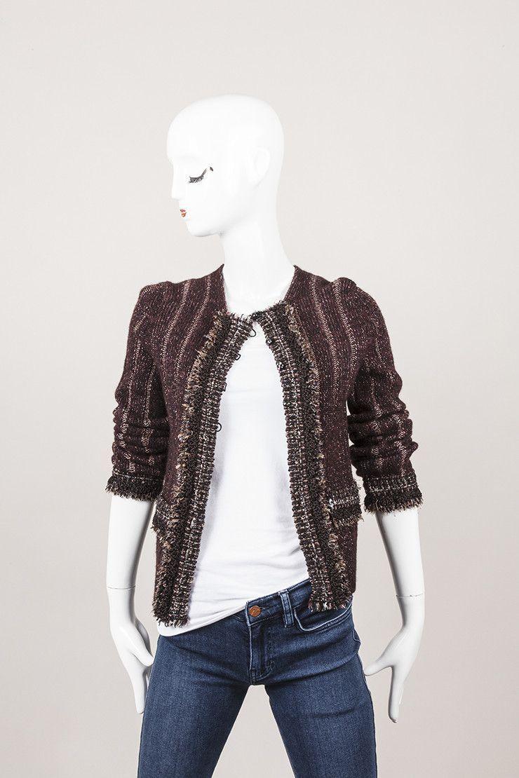 Black and Plum Metallic Thread Jacket