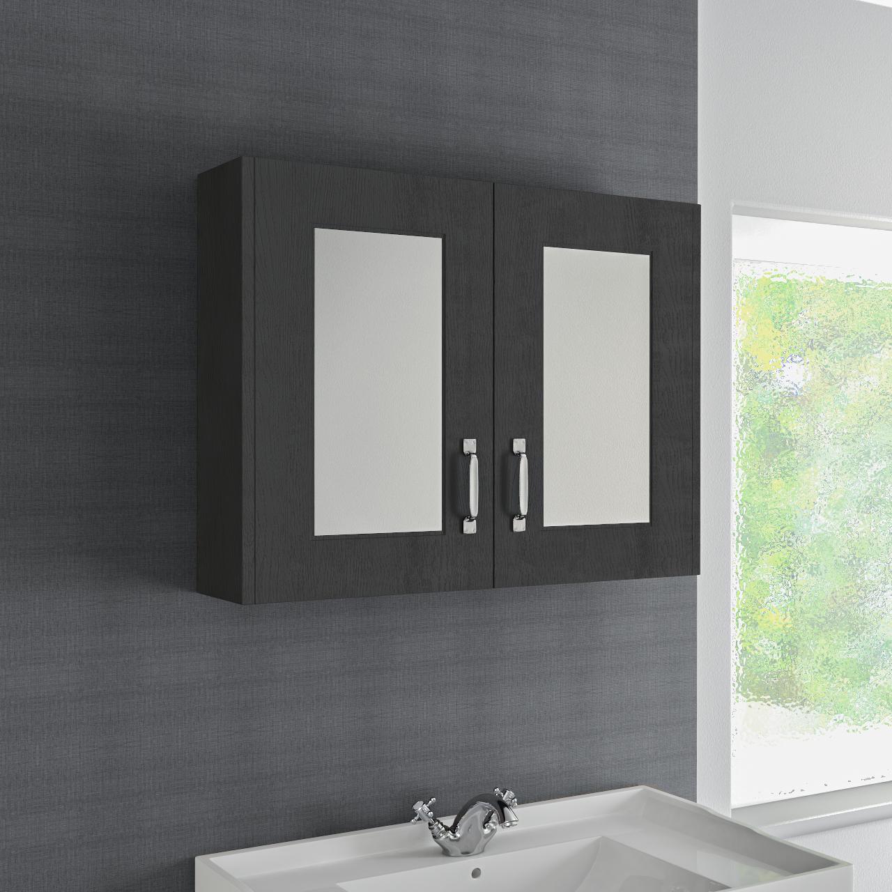 Windsor Traditional Dark Grey 800mm Double Door Mirror Cabinet Mirror Cabinets Mirror Door Traditional Bathroom