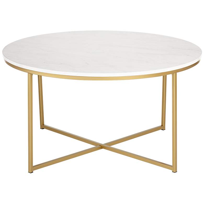 Aurelia 36 Wide Faux Marble And Gold Modern Coffee Table 24w56 Lamps Plus In 2020 Coffee Table Marble Coffee Table Furniture